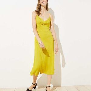 Loft Twist Midi Slip Dress in Warm Saffron Size 6